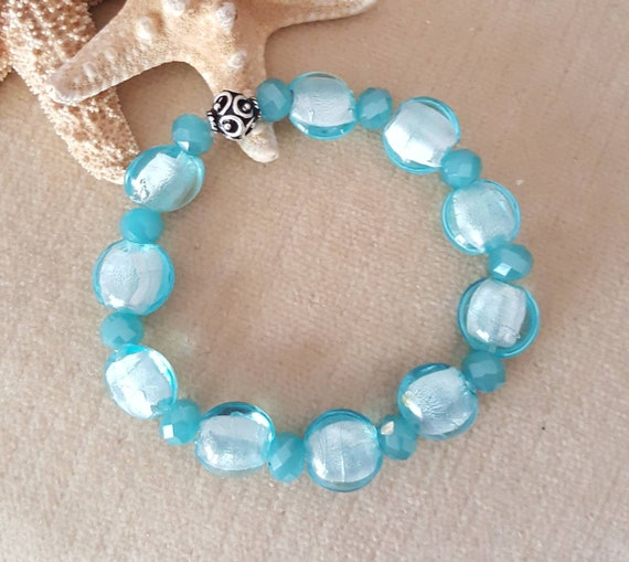 Aqua Foil Lampwork Bead Stretch Bracelet! Handcrafted with Sterling Silver & sparkling crystals! Vintage beads in an updated look!