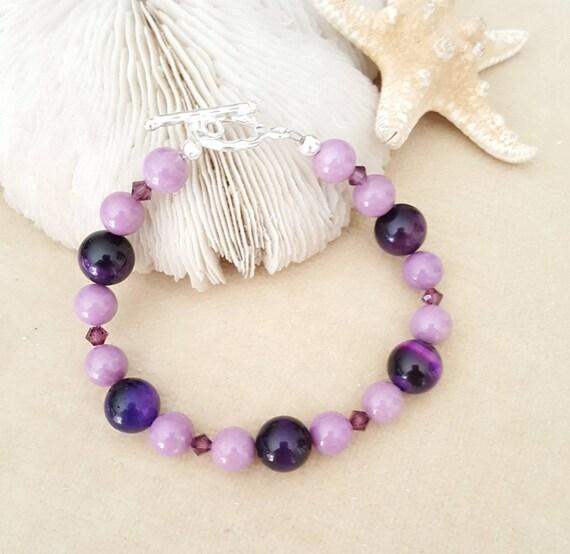 Phosphosiderite & Tiger's Eye Bracelet! Natural Phosphosiderite and Purple dyed Tiger's Eye! Stunning Purples! Sterling Silver!
