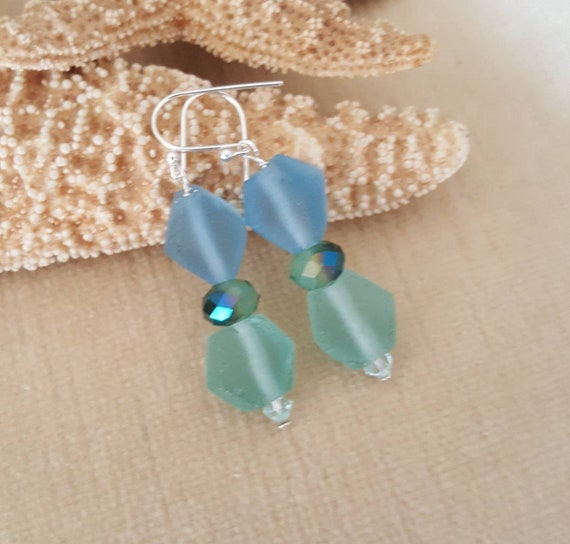 Sea Glass Dangle Earrings! Handcrafted with blue and green sea glass, Sterling Silver and sparkling crystals!