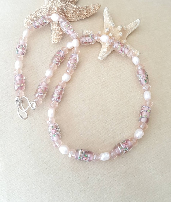 Vintage Czech Pink Glass Lampwork Beaded Necklace! Handcrafted with Freshwater Pearls, Sterling Silver, & sparkling crystals!