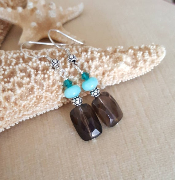 Smoky Quartz & Peruvian Amazonite Dangle Earrings! Handcrafted with Sterling Silver and sparkling Swarovski crystals! Vintage beads!