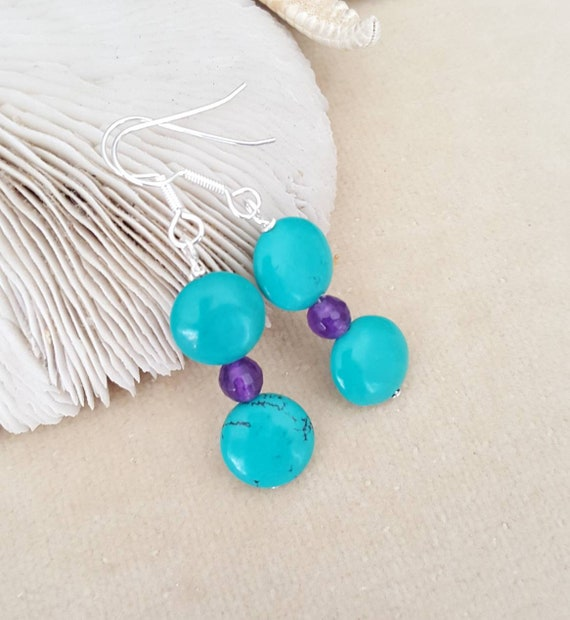 Turquoise & Agate Earrings! Handcrafted with genuine Turquoise, purple Agate, and Sterling Silver! Beautiful color combination!
