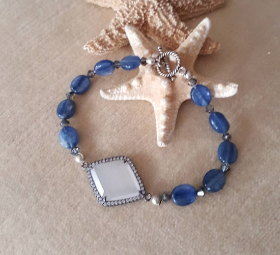 Moonstone & Kyanite Bracelet! Handcrafted with Sterling Silver and twinkling Swarovski crystals! Beautiful blues! Genuine gemstones!