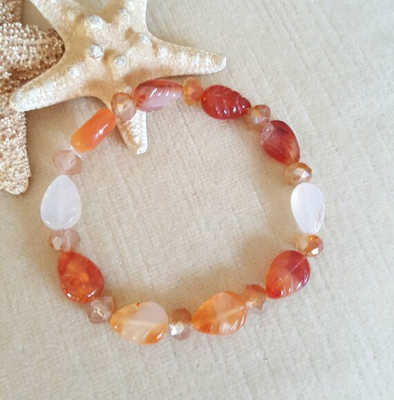 Carnelian Leaves Stretch Bracelet! Carved Carnelian Leaves in rich autumn colors! Handcrafted with sparkling crystals!