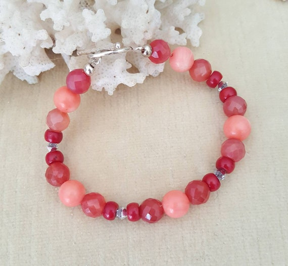 Genuine Coral & Red Agate Bracelet! Handcrafted with two shades of Coral, Red Agate, Sterling Silver, and twinkling Swarovski crystals!!!