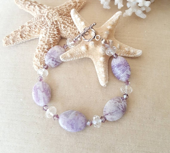 Charoite & Citrine Bracelet! Handcrafted with Russian Charoite, genuine Citrine, sterling Silver, and twinkling Swarovski crystals!