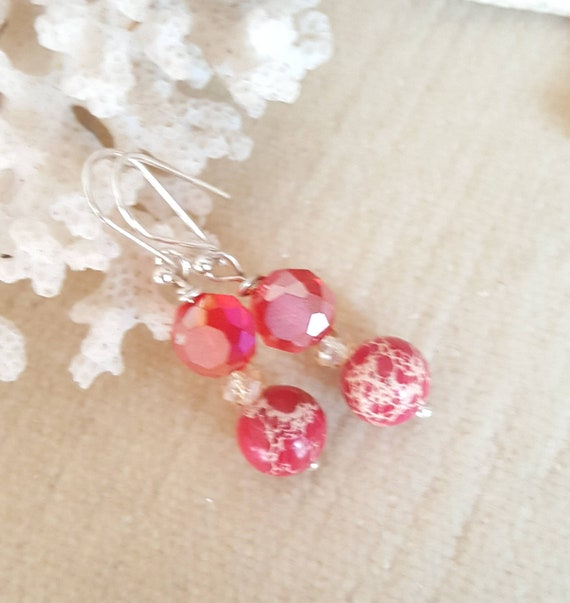 Red Impression Jasper & Crystal Drop Earrings! Handcrafted with Sterling Silver and sparkling red Crystals!