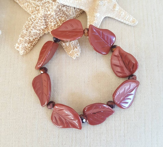 Red Jasper & Red Tiger's Eye Stretch Bracelet!  Handcrafted with Vintage Beads! Red Jasper leaves!