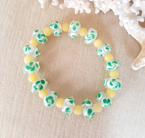 Vintage Czech Glass Lampwork Beaded Stretch Bracelet! Handcrafted with dyed yellow jade. Cute green and yellow combination!