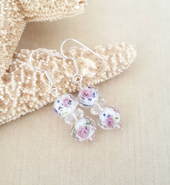 Lampwork & Clear Quartz Drop Earrings! Pretty Pink Roses!