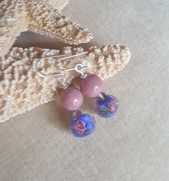 Rhodonite & Lampwork Bead Dangle Earrings! Handcrafted with Sterling Silver and sparkling Swarovski crystals!