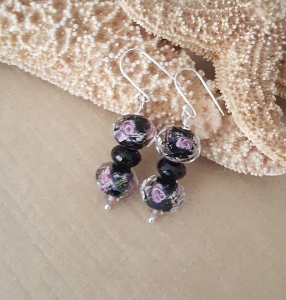 Lampwork & Black Onyx Dangle Earrings! Stunning black Lampwork with a beautiful pink floral design! Handcrafted with Sterling Silver!