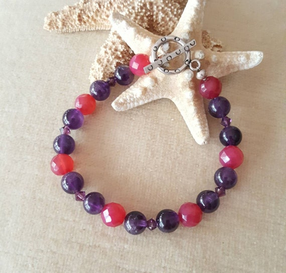 Purple Amethyst & Red Agate Bracelet! Handcrafted with Sterling Silver, and sparkling Swarovski crystals! Striking color combination!