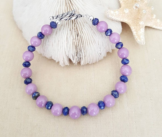 Phosphosiderite & Sodalite Bracelet! Handcrafted with Sterling Silver! Gorgeous Purple and Blue color combination!