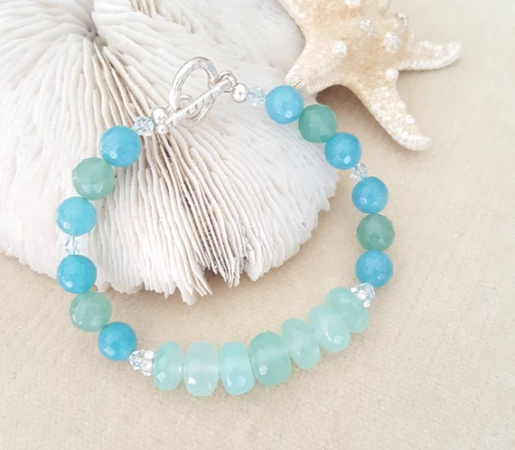 Aqua Chalcedony, Aquamarine, & Aventurine Bracelet! Handcrafted with Sterling Silver and twinkling Swarovski crystals! Genuine gemstones!!!