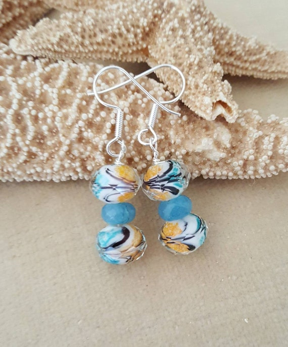 Lampwork & Angelite Dangle Earrings! Handcrafted with Sterling Silver!