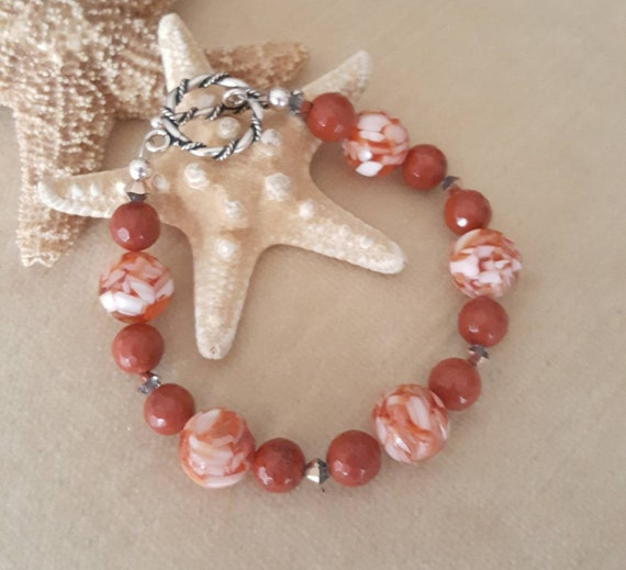 Mosaic Shell & Red Jasper Bracelet! Vintage 1960's shell beads! Handcrafted with Sterling Silver and sparkling Swarovski crystals!