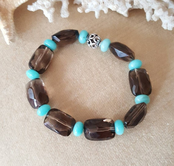 Smoky Quartz & Peruvian Amazonite Stretch Bracelet! Handcrafted with Vintage Smoky Quartz beads and a solitary Sterling Silver bead!