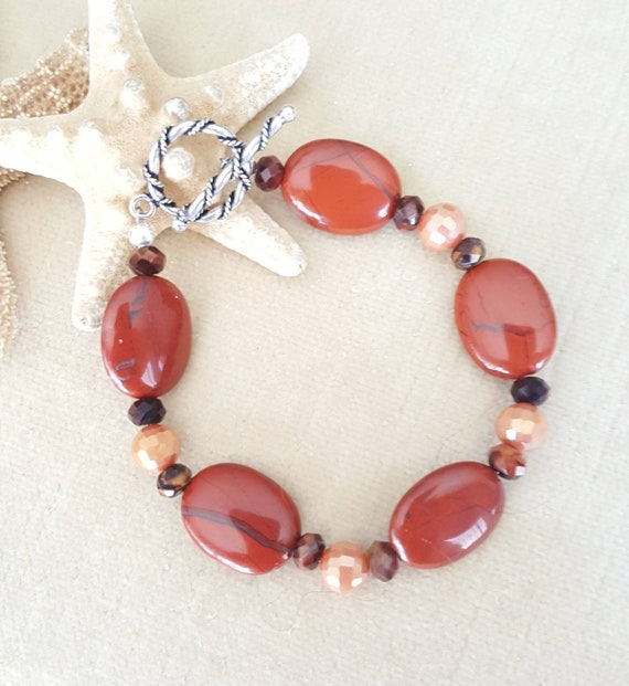 Red Striped Jasper Bracelet! Handcrafted with vintage Red Striped Jasper & Red Tiger Eye beads, Sterling Silver and sparkling crystals!