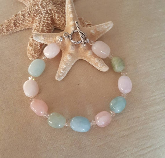Beryl Bracelet! Beautiful pastels! Handcrafted with Sterling Silver & twinkling Swarovski crystals! Pink, blue, green, and cream gemstones!