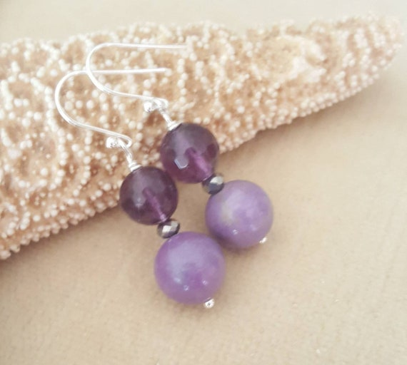 Phosphosiderite & Amethyst Dangle Earrings! Handcrafted with Sterling Silver and silvery crystals!