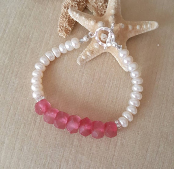 Pink Sea Glass & White Pearl Bracelet! Handcrafted with Sterling Silver and sparkling Swarovski crystals and rhinestones!