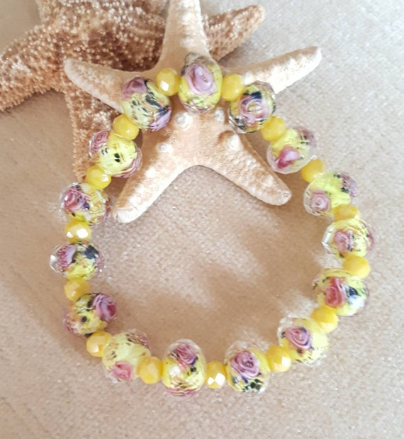 Yellow Lampwork & crystal beaded stretch bracelet! Gorgeous pink roses on yellow Lampwork beads! Bright and cheerful colors!