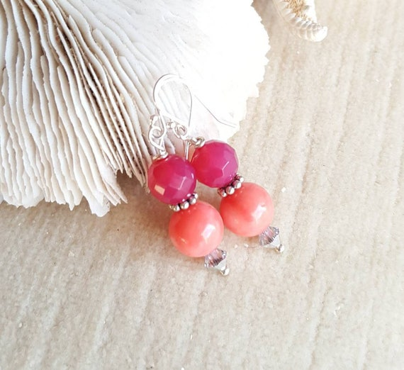 Coral &  Red Agate drop earrings! Handcrafted with Sterling Silver and twinkling Swarovski crystals! Pink Coral and sparkling red Agate!