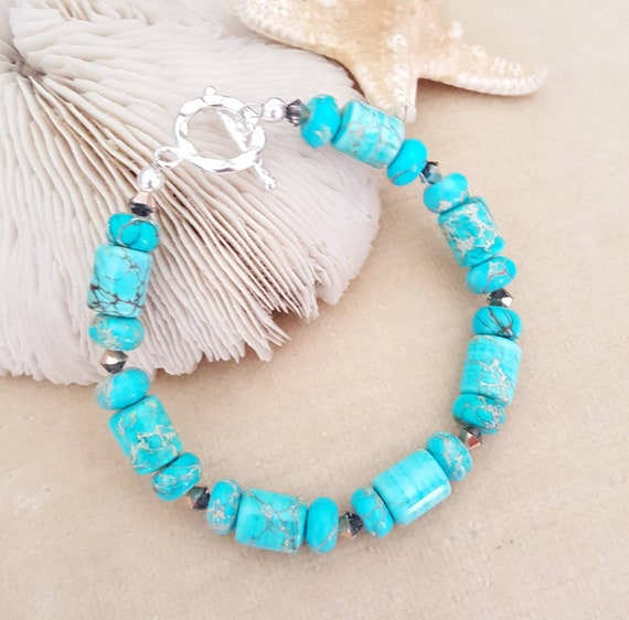 Aqua Terra Jasper Bracelet! Lovely turquoise color! Handcrafted with Sterling Silver and sparkling Swarovski crystals!