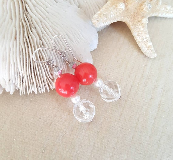 Red Coral & Clear Quartz earrings! Genuine coral of bright red combines beautifully with genuine sparkling clear quartz and sterling silver!