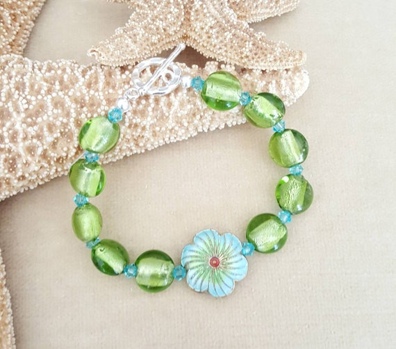 Enameled Flower & Foil Lampwork Bead Bracelet! Handcrafted with Sterling Silver and sparkling Swarovski crystals! Gorgeous colors!