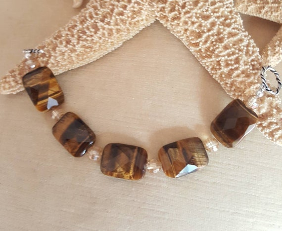 Tiger's Eye Bracelet! Handcrafted with Vintage Tiger's Eye, Sterling Silver, & sparkling crystals!