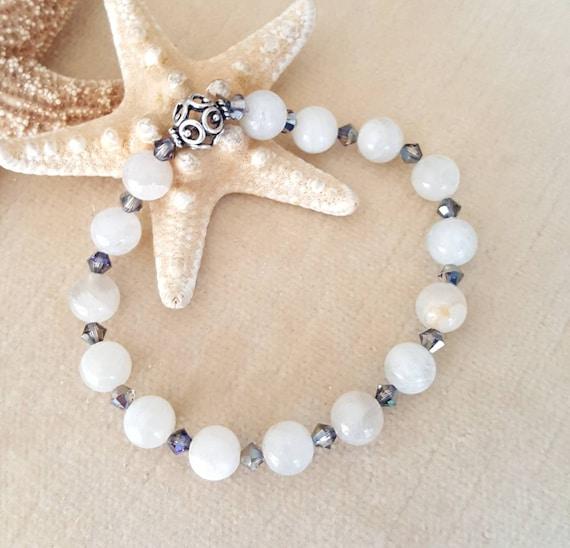 Moonstone Stretch Bracelet! Handcrafted with natural Moonstone, Sterling Silver, & sparkling Swarovski crystals! Genuine natural moonstone!