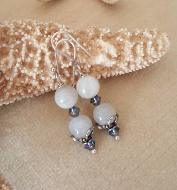 Moonstone drop earrings! Handcrafted with genuine natural Moonstone, Sterling Silver, & Sparkling Swarovski crystals! Genuine moonstone!!!