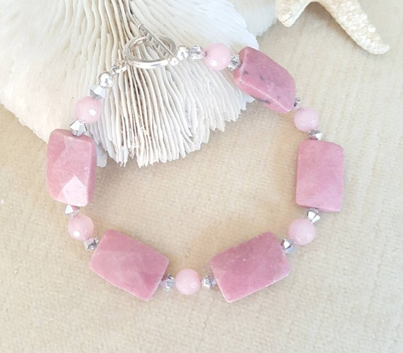 Rhodonite & Jade Bracelet! Handcrafted with Sterling Silver and sparkling silvery Swarovski crystals! Genuine Rhodonite! Rosy pinks hues!