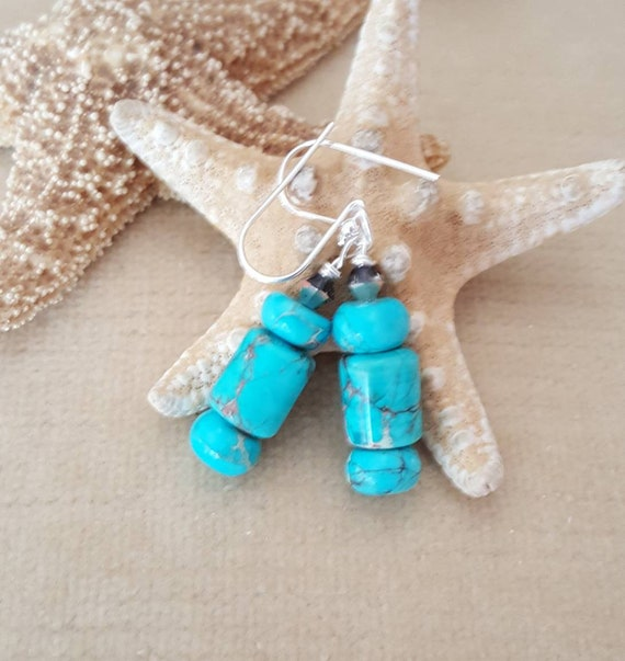 Aqua Terra Jasper Drop Earrings! Handcrafted with Sterling Silver and sparkling Swarovski crystals! Beautiful turquoise color!
