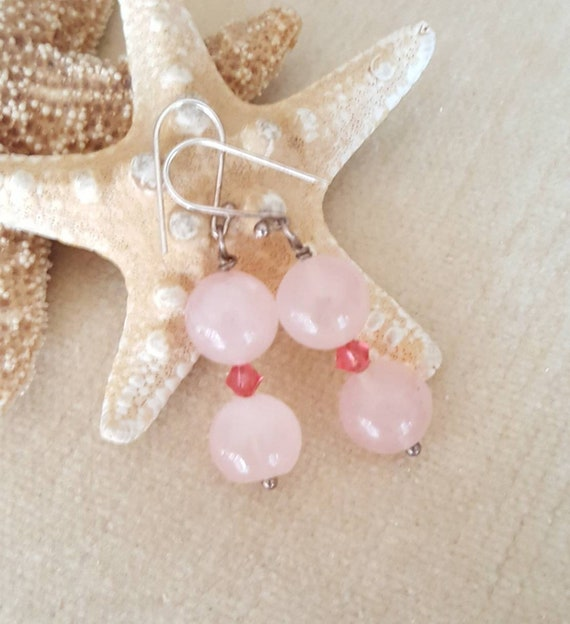 Rose Quartz drop earrings! Handcrafted with genuine gemstones, Sterling Silver, and twinkling pink Swarovski crystals! Pretty Pinks!!!