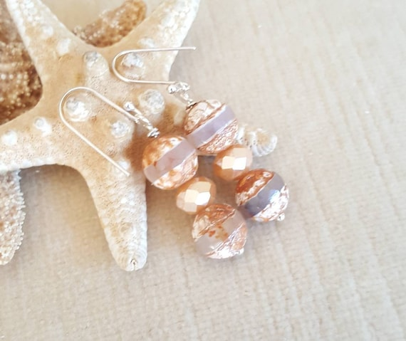 Coffee Fire Agate Drop Earrings! Handcrafted with Sterling Silver & sparkling crystals! Beautiful autumn colors!
