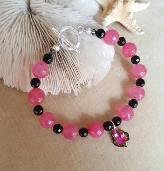 Ruby Jade & Black Onyx Bracelet! Handcrafted with Sterling Silver and an exquisite Swarovski crystal charm!