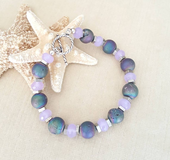 Colorful Druzy & Purple Jade Bracelet! Handcrafted with vintage brass spacer beads and Sterling Silver! Stunning colors!