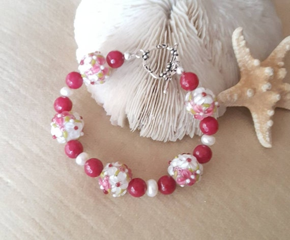 Colorful Lampwork & Candy Red Jade Bracelet! Handcrafted with Sterling Silver and white freshwater pearls?