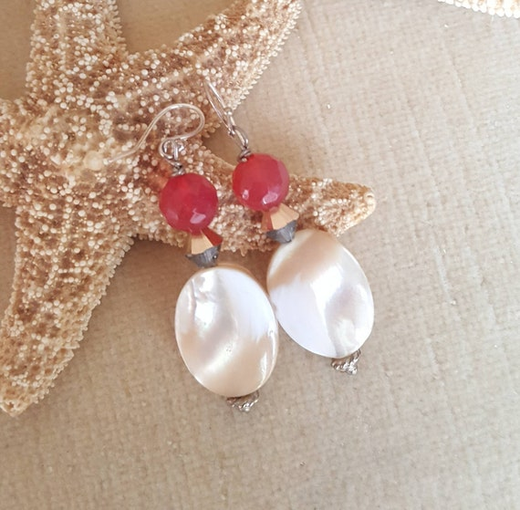 Mother of Pearl & Red Agate dangle earrings! Handcrafted with Sterling Silver and sparkling Swarovski crystals! Shell jewelry!