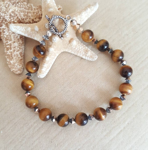 Tigers Eye Bracelet! Handcrafted with Sterling Silver and sparkling Rose Gold Swarovski crystals! Beautiful Golden Brown Cat's Eye beads!