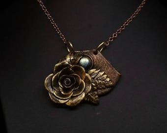 Polymer Clay Rose and Labradorite Necklace, Bronze Floral Necklace, Flower Clay Pendant, Rose Necklace