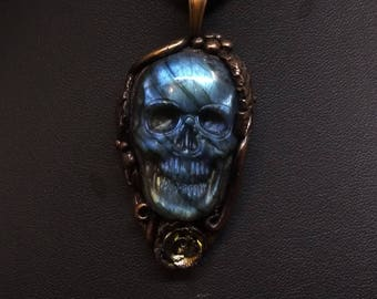 Blue Labradorite Carved Skull, Polymer Clay Skull Necklace, Floral Clay pendant, Carved Stone Pendant, Carved Stone