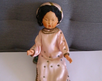 Antique Doll, stand, doll French 1930 's/Doll / doll celluloid/antiquityfrench/dress in pink silk, celluloid, bb Asian doll