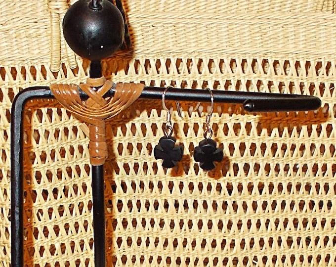 Vintage Handmade 90's One Of A Kind Goth Black Cross Copper Horn Drop Dangle Earrings