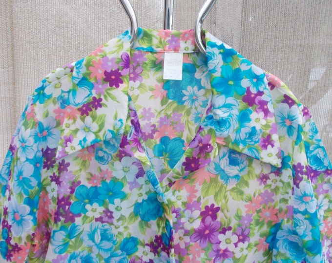 Vintage 70s Boho Hippie Chic Blue Pink Purple Nylon Psychedelic Floral Blouse Shirt Top