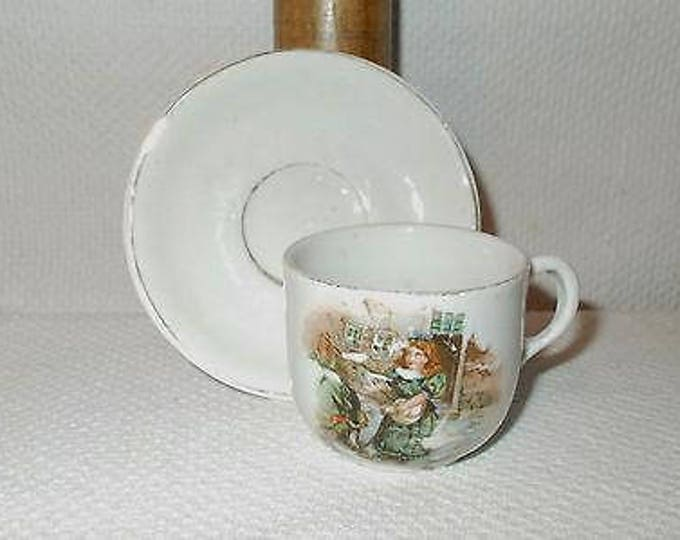 Antique Vintage 30's German Girl Feeding Bird's White China Porcelain Children's Collectible Cup & Saucer