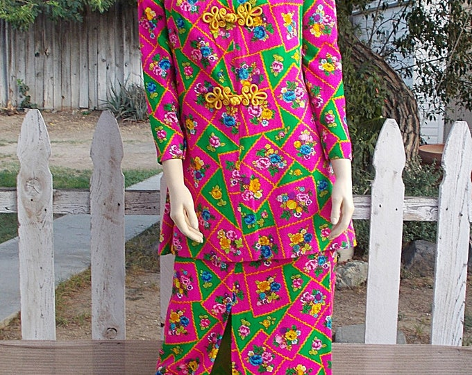 "Vintage Handmade 70's Mod ""Lilli"" Cheongsam Green Pink Floral Long Sleeve Top Tunic Maxi Skirt Hostess Dress"